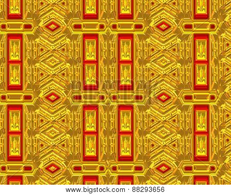 Red and gold background in a unique pattern.