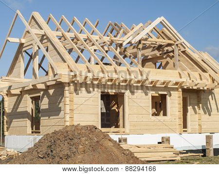 Construction Of A Wooden House With Logs Rectangular