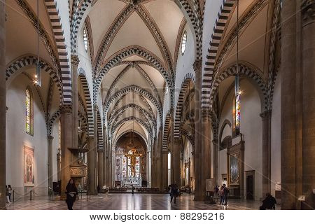 The Interior Of Santa Maria Novella Church, Florence