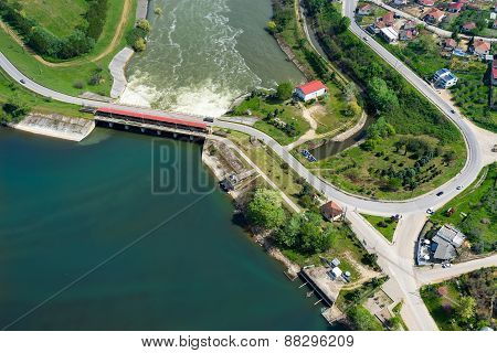 Aerial View Of The Artificial Lake Kerkini And River Strymon With Dam