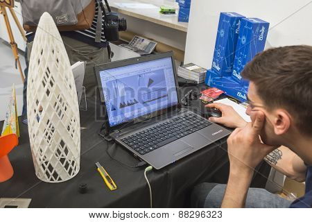 Guy Working On 3D Printing At Fuorisalone During Milan Design Week 2015