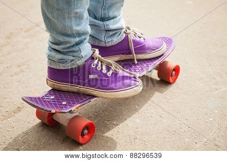 Young Skateboarder In Gumshoes Standing On His Skate
