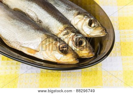 Smoked Herring Closeup In Glass Dish