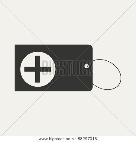 Flat in black and white mobile application first aid box