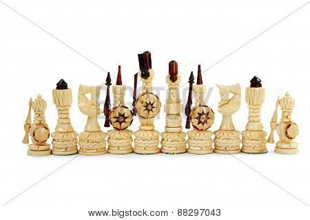 Wooden Chess Pieces On A White Background