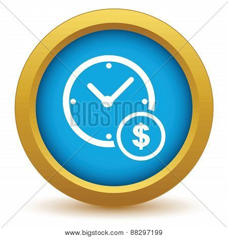 Gold clock money icon