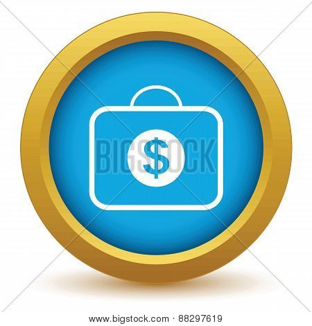 Gold bag with dollars icon