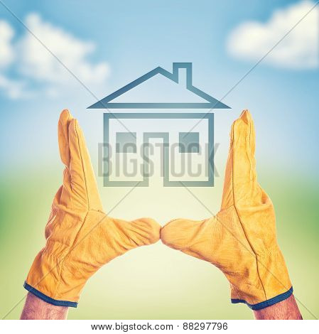 Construction Engineer Making House Project Plan