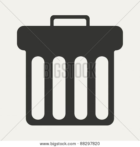 Flat in black and white mobile application waste basket
