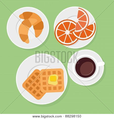 Breakfast food and drinks in flat style