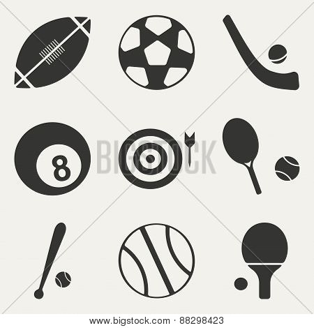 Flat in black and white concept mobile application sports icons
