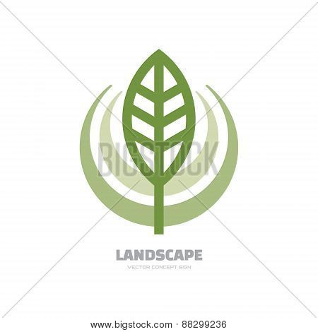 Landscape- vector logo concept illustration. Abstract leaf logo.