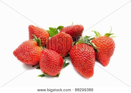 Seven Fresh Strawberies Isolated On White Background
