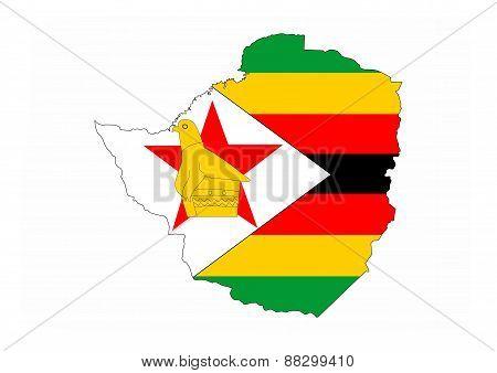 Zimbabwe Flag Map