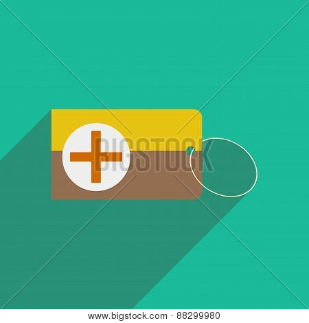 Flat with shadow icon and mobile applacation first aid box