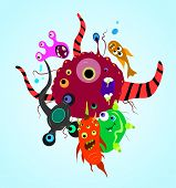 pic of microbes  - party of bright fantastic toilet monsters microbes - JPG