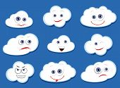 foto of disappointed  - White vector clouds with cartoon emotional faces - JPG