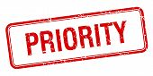 image of priorities  - priority red square grungy vintage isolated stamp - JPG