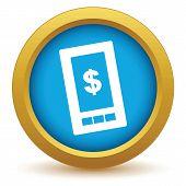 stock photo of tariff  - Gold dollar phone icon on a white background - JPG