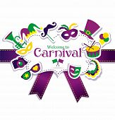 pic of venice carnival  - Bright vector carnival icons and sign Welcome to Carnival - JPG