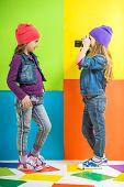 image of little girls photo-models  - Best friends - JPG