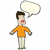 picture of terrifying  - cartoon terrified man with speech bubble - JPG