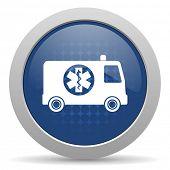 foto of ambulance  - ambulance blue glossy web icon  - JPG