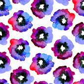 picture of violets  - Watercolor seamless pattern with blue - JPG