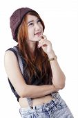 pic of daydreaming  - Attractive teenage girl with casual clothes daydreaming in the studio isolated on white - JPG