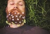 stock photo of sleeping beauty  - a sleeping hipster lying in tall grass with lilacs in his epic beard taking a nap toned with a retro vintage instagram filter and light leaks  - JPG