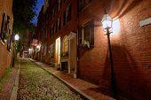 stock photo of acorn  - Acorn street Beacon Hill cobblestone Boston in Massachusetts USA - JPG