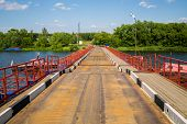 picture of pontoon boat  - floating bridge on the Moskva river on sunny day - JPG