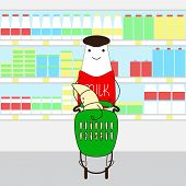 stock photo of yellow milk cap  - Funny bottle with brown cap small eyes big smile legs hands and red sweater with lettering milk on it carrying plastic shopping cart with funny croissant standing inside and supermarket refrigerator shelves behind them - JPG