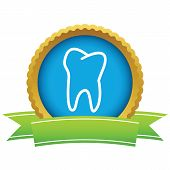stock photo of gold tooth  - Gold tooth logo on a white background - JPG