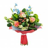 picture of centerpiece  - Flower bouquet from multi colored roses iris and other flowers arrangement centerpiece isolated on white background - JPG