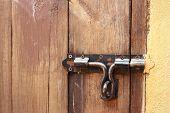 image of lock  - lock of the door locked with padlock - JPG