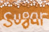stock photo of sugar cube  - Crystal and cube white and brown sugar with word sugar - JPG