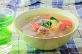 image of curd  - clear soup with bean curd and minced pork and drink - JPG