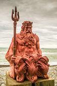 stock photo of sochi  - Classic Neptune statue on the coastline of Sochi - JPG