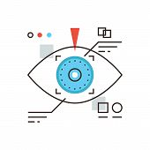 stock photo of  eyes  - Thin line icon with flat design element of cyber eye vision eyetap future display virtual reality technology personal identification by eye retina - JPG