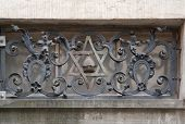 stock photo of synagogue  - architectural detail of a synagogue in Prague the capital and largest city in the Czech Republic - JPG