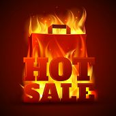 pic of flames  - Hot sales department store outdoor advertisement billboard banner with glowing text in flames poster abstract vector illustration - JPG
