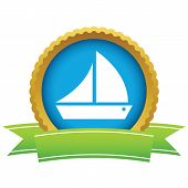 picture of brigantine  - Gold ship logo on a white background - JPG