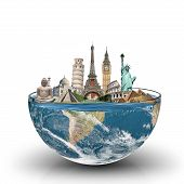 image of world-famous  - illustration of famous monuments of the world in a glass of water - JPG