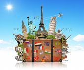picture of world-famous  - Famous monuments of the world grouped together in a suitcase - JPG