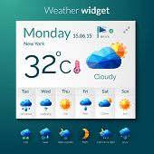 stock photo of rainy weather  - Weather forecast widget with polygonal mobile application elements vector illustration - JPG
