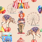 foto of tent  - Circus seamless pattern with balloons animals and entertainment tent vector illustration - JPG