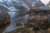 foto of lofoten  - The coast of the Lofoten Islands in Norway - JPG