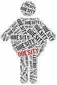 picture of obesity children  - Word cloud illustration related to obesity - JPG