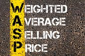 image of average looking  - Business Acronym WASP as Weighted Average Selling Price. Yellow paint line on the road against asphalt background. Conceptual image - JPG